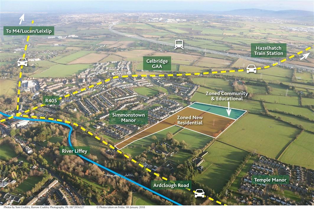 Simmonstown, Celbridge, Co. Kildare – approx. 17 acres (6.9 ha) – 10.5 acres Zoned New Residential p